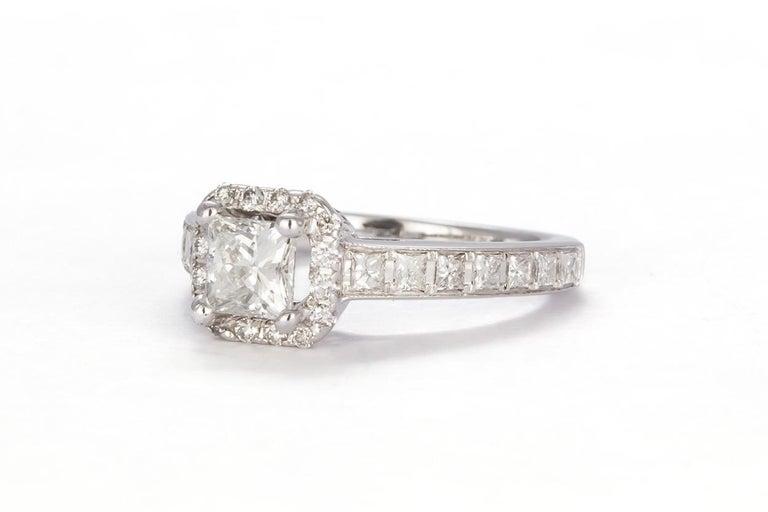 Princess Cut GIA Certified 18 Karat Gold and Princess Diamond Halo Wedding Set 3.58 Carat For Sale