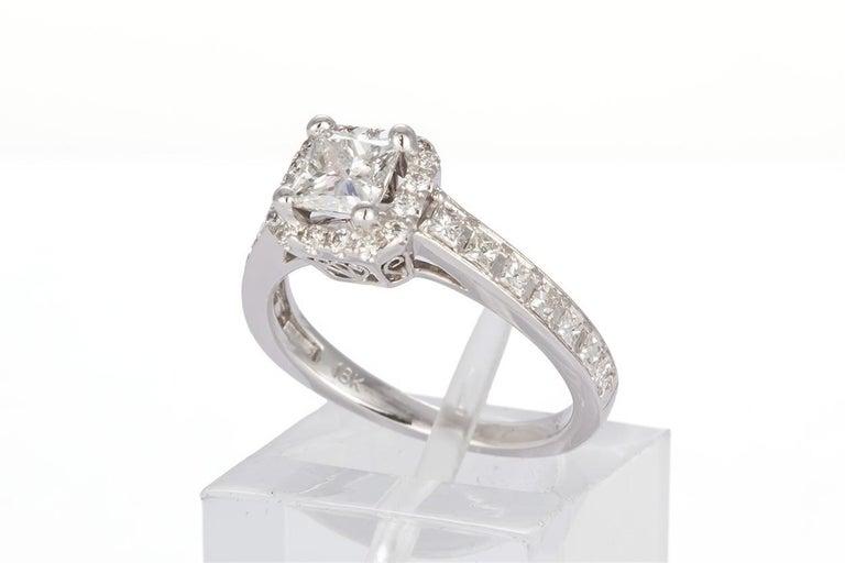 Women's GIA Certified 18 Karat Gold and Princess Diamond Halo Wedding Set 3.58 Carat For Sale