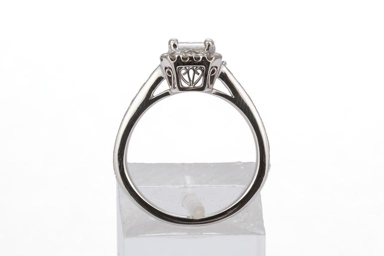 GIA Certified 18 Karat Gold and Princess Diamond Halo Wedding Set 3.58 Carat For Sale 1