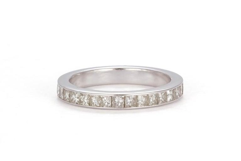 GIA Certified 18 Karat Gold and Princess Diamond Halo Wedding Set 3.58 Carat For Sale 3