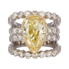 GIA Certified 18k Yellow & White Gold Natural Fancy Yellow Diamond Ring 9.50ctw