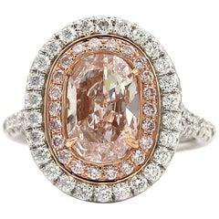 GIA Certified 1.90 Carat Cushion Cut Light Pink Diamond  Ring