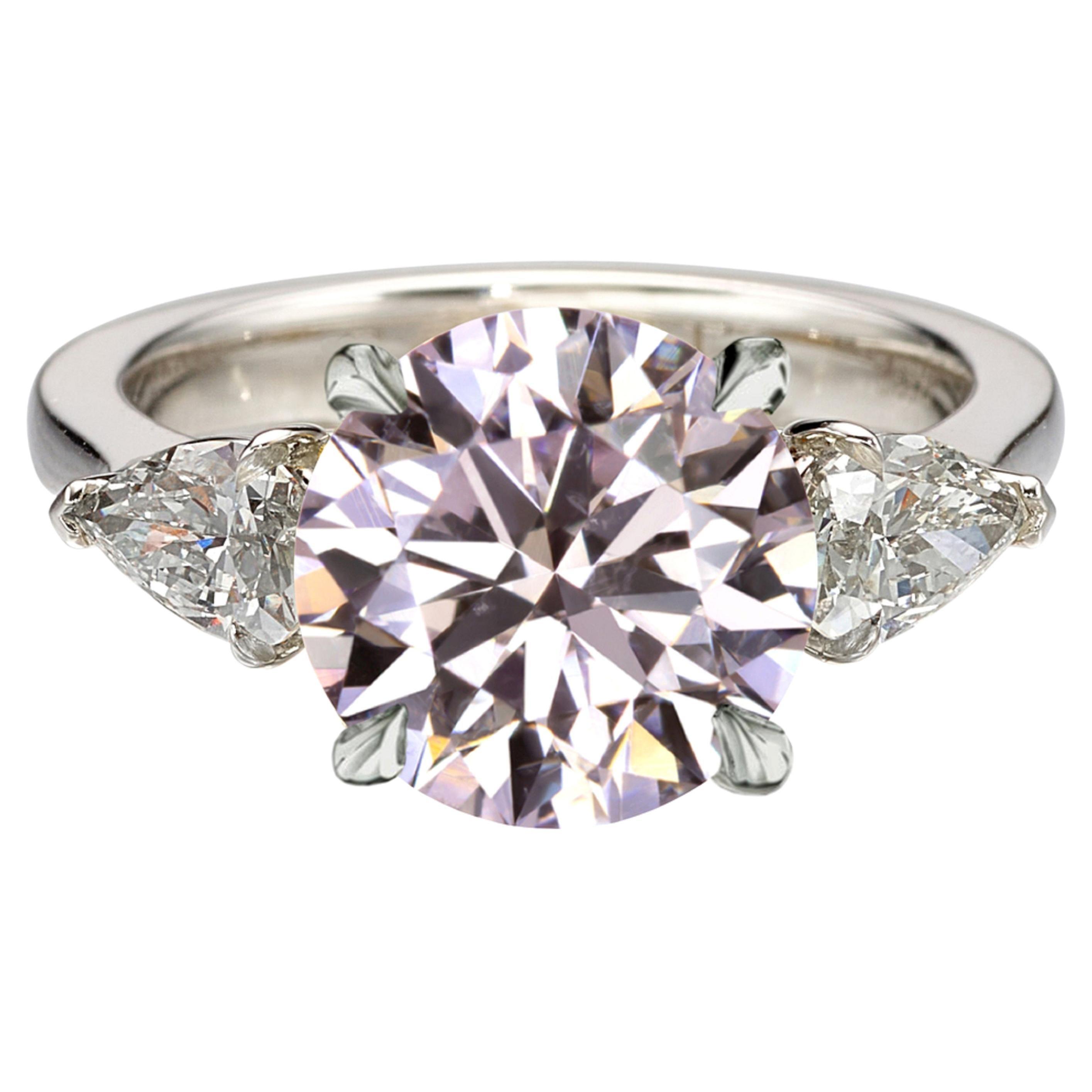 GIA Certified 1.90 Carat Light Pink Round Brilliant Cut Diamond Platinum Ring