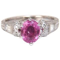 GIA Certified 1.90 Carat Natural No Heat Pink Sapphire Diamonds Ring 14 Karat