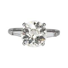 GIA Certified 1.90 Carat Old European Diamond Three Stone Ring