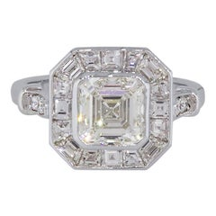 GIA Certified 1.91 Carat Asscher Cut Diamond Engagement Ring