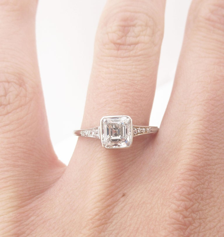 GIA Certified Asscher Cut 1925 Art Deco Platinum Diamond Engagement Ring For Sale 6