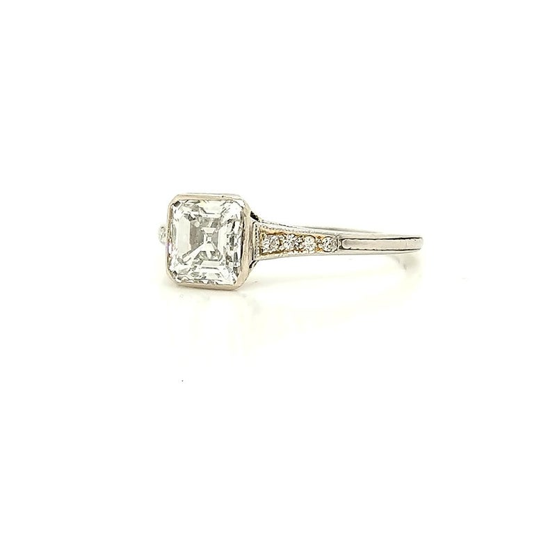 GIA Certified Asscher Cut 1925 Art Deco Platinum Diamond Engagement Ring In Excellent Condition For Sale In Lexington, KY