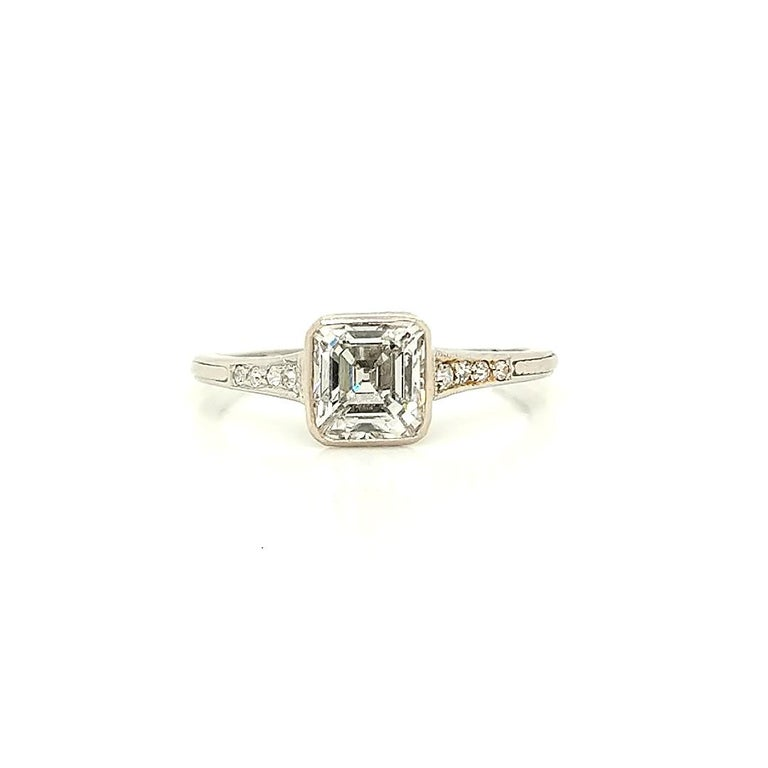 GIA Certified Asscher Cut 1925 Art Deco Platinum Diamond Engagement Ring For Sale 1