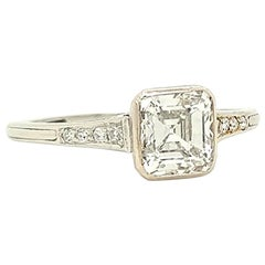 GIA Certified Asscher Cut 1925 Art Deco Platinum Diamond Engagement Ring