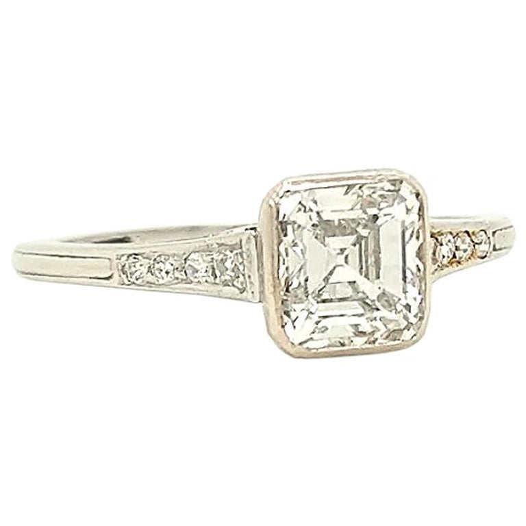 GIA Certified Asscher Cut 1925 Art Deco Platinum Diamond Engagement Ring For Sale