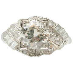 GIA Certified 1920 Art Deco 1.53 Carat Diamond Platinum Engagement Ring