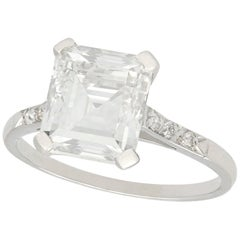GIA Certified 1930s 2.84 Carat Diamond and Platinum Solitaire Ring