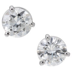 GIA Certified 1.94 Carat Diamond Three Prong Platinum Stud Earrings