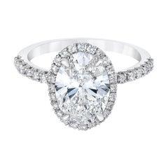 GIA Certified 1.94 Carat Oval Cut Natural Diamond Platinum Ring