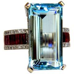GIA Certified 19.40 Carat Natural Aquamarine Ruby Diamonds Ring Vivid 14 Karat