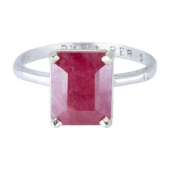 GIA Certified 1940s 4.14 Carat Ruby and Platinum Ring