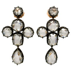 GIA Certified 19.42 Carat Total Weight Antique Style Rosecut Diamond  Earrings.