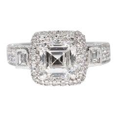 GIA Certified 1.95 Carat Assher Diamond Retro Style Ring
