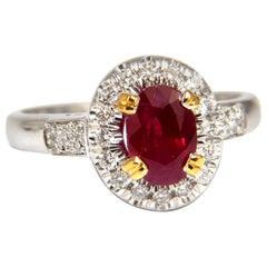 GIA Certified 1.95 Carat Natural Ruby Diamond Ring 18 Karat Vivid Red and Origin