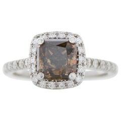 GIA Certified 1.95 Carat Total Fancy Dark Brown Radiant, Cut Diamond Ring in 18K