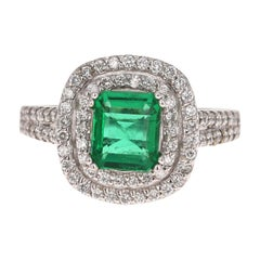 GIA Certified 1.96 Carat Emerald Diamond 14 Karat White Gold Engagement Ring
