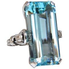 "GIA Certified 19.67 Carat Natural ""Blue"" Aquamarine Diamonds Ring Vivid Long Cut"