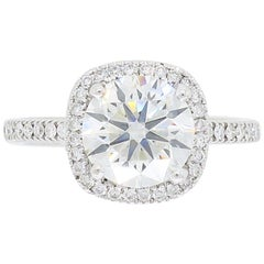 GIA Certified 1.97 Carat Diamond Halo Engagement Ring