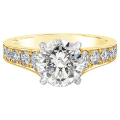 GIA Certified 1.97 Carat Round Diamond Engagement Ring in Yellow Gold