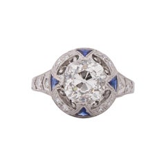 GIA Certified 1.99 Carat Art Deco Diamond Platinum Engagement Ring