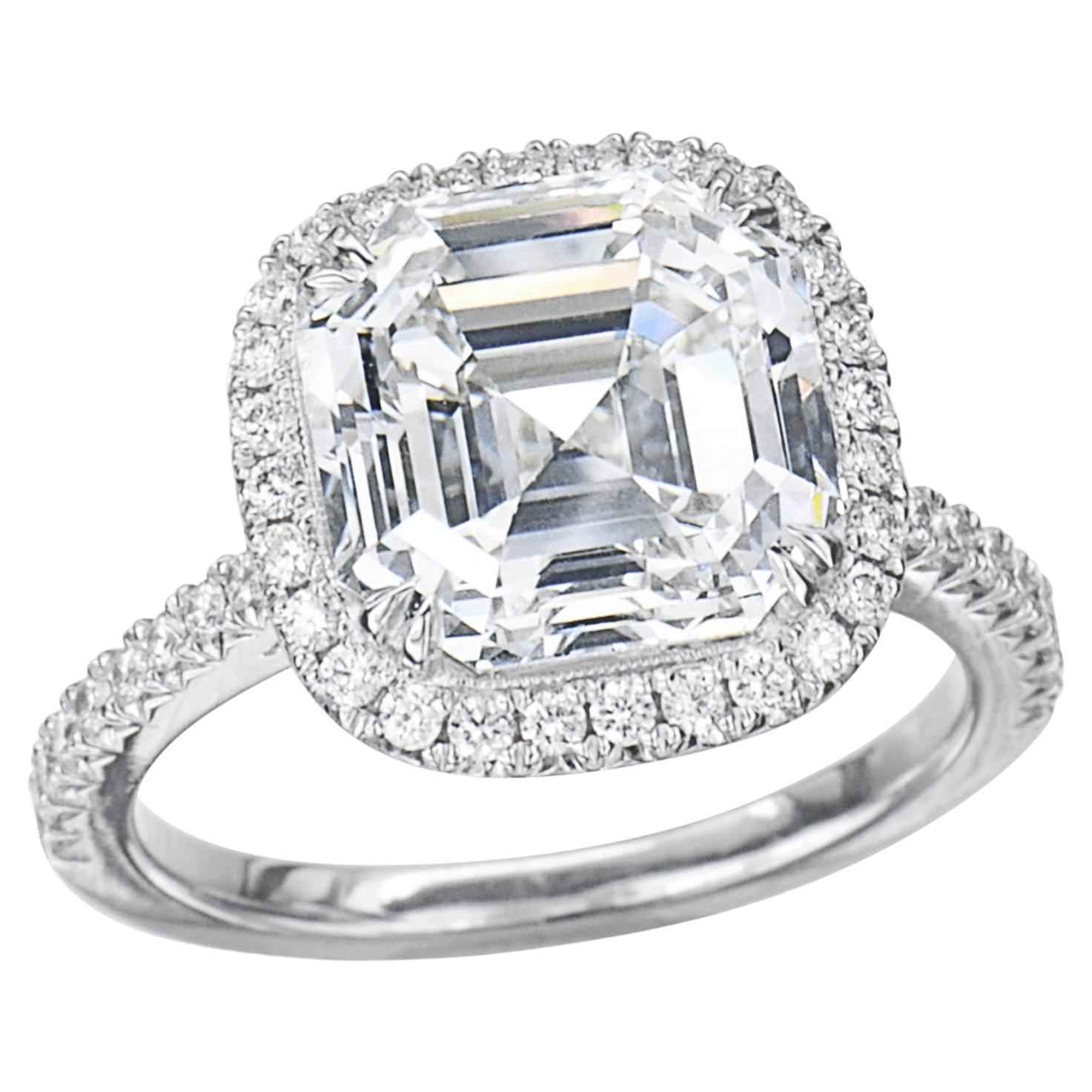 GIA Certified 2 Carat Asscher Cut Diamond Platinum Ring
