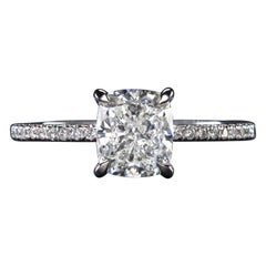 GIA Certified 2 Carat Cushion Cut Diamond Ring Pave Ring
