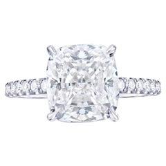 GIA Certified 2 Carat Cushion Long Diamond Ring Pave Ring