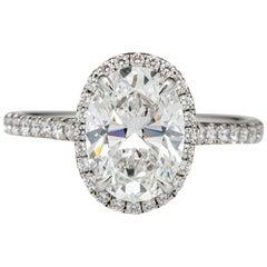 GIA Certified 1.73 Carat Oval Cut Engagement Diamond Excellent Cut D Color VVS2
