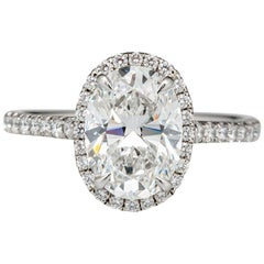 GIA Certified 2 Carat E SI2 Oval Cut Engagement Diamond Excellent Shape