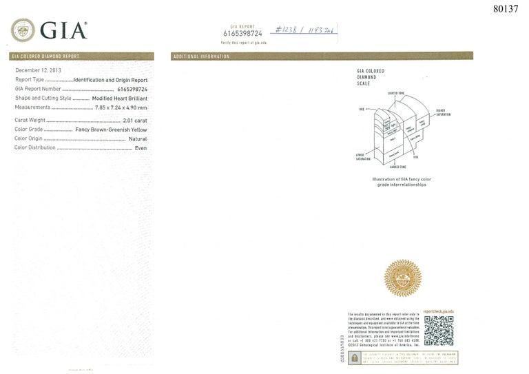 GIA Certified 2 Carat Fancy Brown Greenish Yellow Diamond Ring For Sale 4