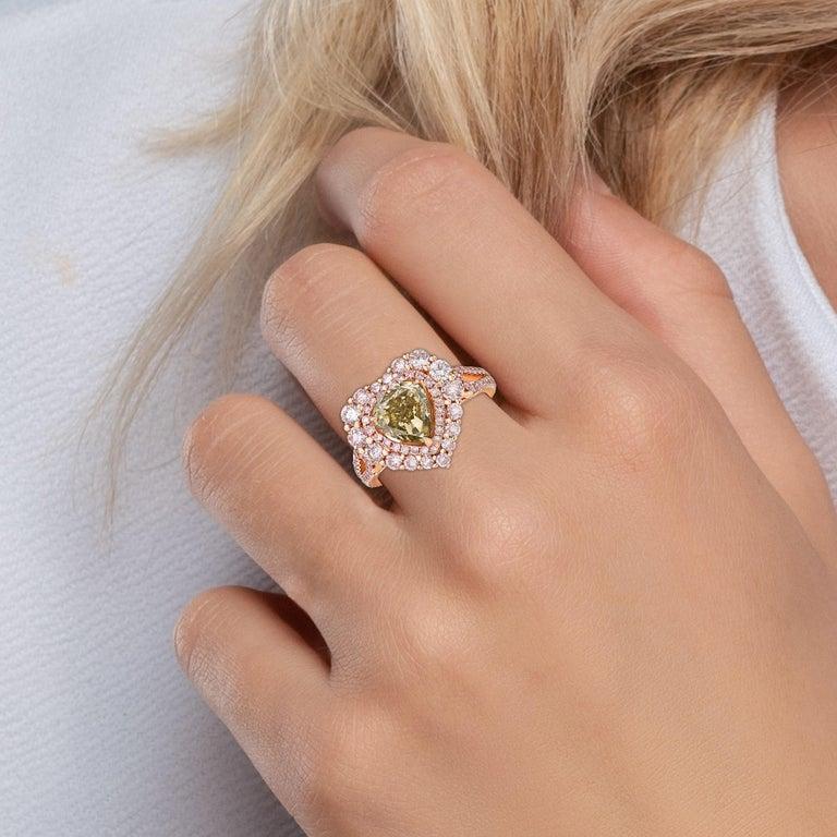 GIA Certified 2 Carat Fancy Brown Greenish Yellow Diamond Ring For Sale 5
