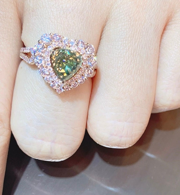 Contemporary GIA Certified 2 Carat Fancy Brown Greenish Yellow Diamond Ring For Sale