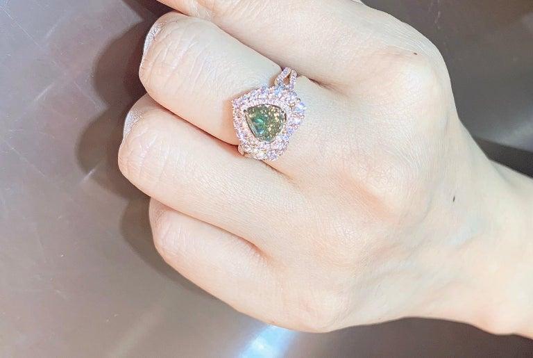 GIA Certified 2 Carat Fancy Brown Greenish Yellow Diamond Ring For Sale 2