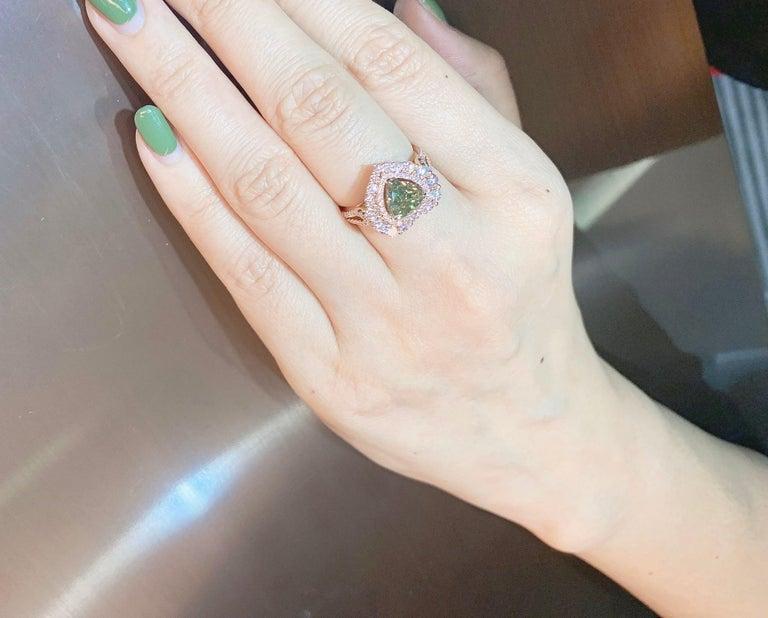 GIA Certified 2 Carat Fancy Brown Greenish Yellow Diamond Ring For Sale 1