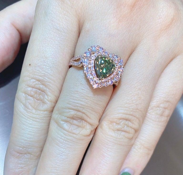 Women's GIA Certified 2 Carat Fancy Brown Greenish Yellow Diamond Ring For Sale