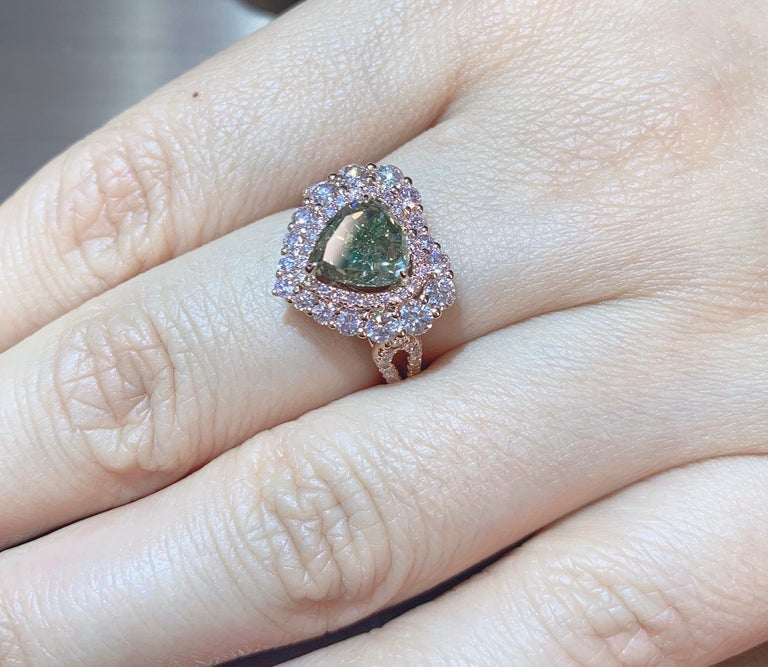 Heart Cut GIA Certified 2 Carat Fancy Brown Greenish Yellow Diamond Ring For Sale