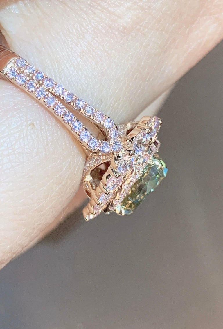 GIA Certified 2 Carat Fancy Brown Greenish Yellow Diamond Ring For Sale 3