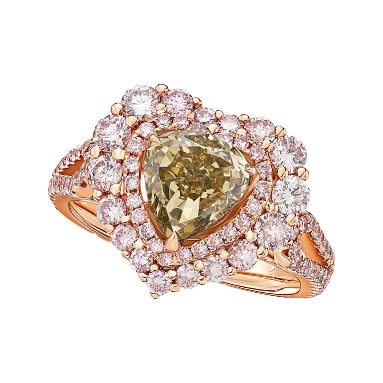 GIA Certified 2 Carat Fancy Brown Greenish Yellow Diamond Ring For Sale