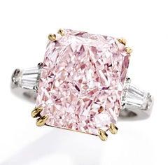 GIA Certified 2 Carat  Fancy Pink Radiant Cut Diamond Platinum Ring