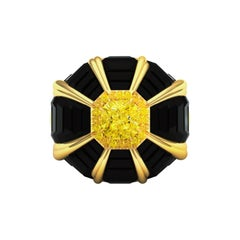 GIA Certified 2 Carat Fancy Yellow Diamond and Onyx Ring