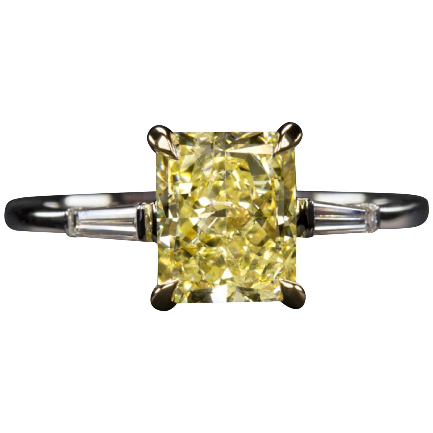 GIA Certified 2 Carat Fancy Yellow Diamond Ring 18 Carat White Gold