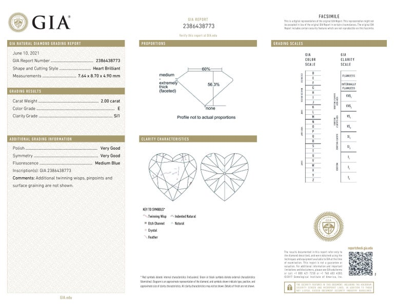 Heart Cut GIA Certified 2 Carat Heart-Shape Diamond Pendant Necklace 18 Carats White Gold For Sale