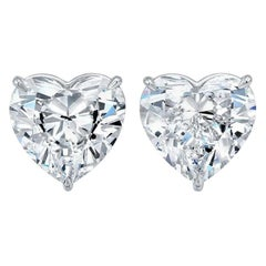 GIA Certified 2 Carat Heart Shape Diamond Studs D/E VS1/VS2