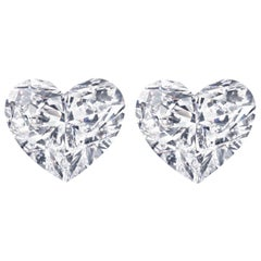 GIA Certified 2 Carat Heart Shape Diamond Studs VS2 Clarity D Color Triple Ex
